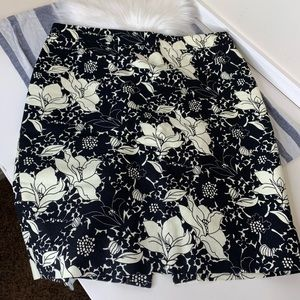 The J. Crew pencil skirt black and white floral
